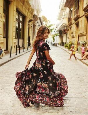 088995f198 V Neck Vintage Boho Long Maxi Dress Floral Sundress