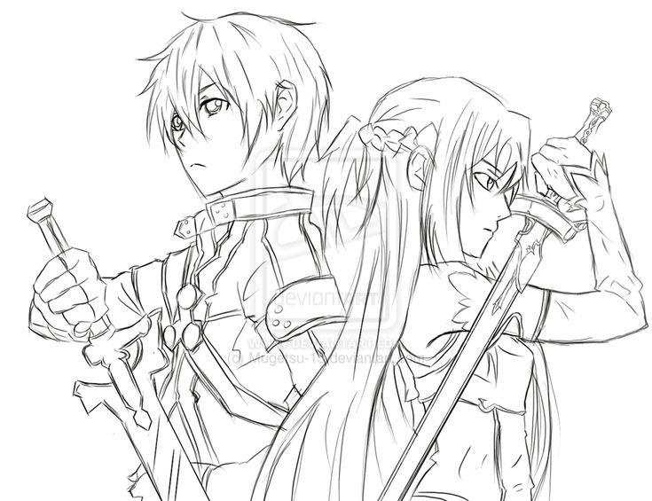 Sword Art Online Kirito and Asuna Coloring Pinterest