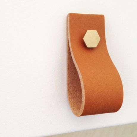 Love these tan leather handles with hexagon bolts! #DIY