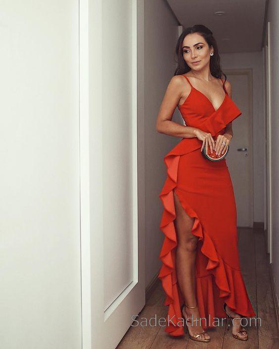 e151b6aa14c29 Fırfırlı Elbise Kırmızı Uzun İp Askılı Yandan Derin Yırtmaçlı in ...