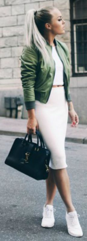 A stylish pair of sneaks + pencil skirt pop + Angelica Blick + all white set + pencil skirt, crop top and sneaks + coordinating jacket + cleverly casual + beautiful image.  Skirt: Zara, Top: River Island, Jacket: ASOS, Purse: YSL, Shoes: Nike