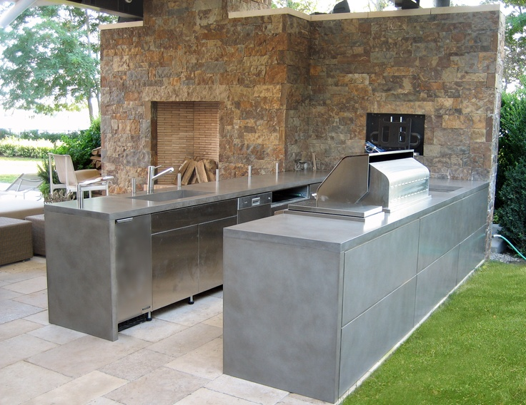 Outdoor kitchen concrete countertops by trueform concrete for Custom made kitchen countertops