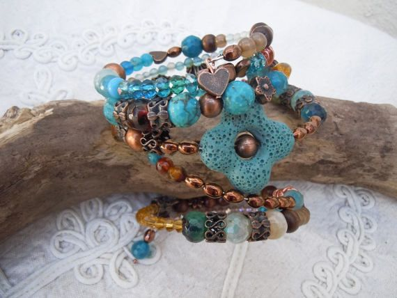 Bracciale Bohemian, bracciale turchese e rame, gioielli turchese, idea regalo donna, spring bracelet, boho bracelet, memory wire