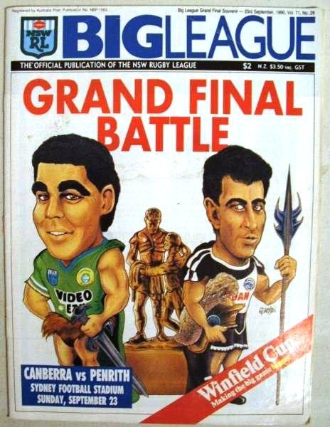 1990 Grand Final Canberra Raiders V Penrith Panthers. It was Canberra's second premiership, back to back titles for the team from the national capital. Mal Meninga features on the cover of the official Grand Final program.