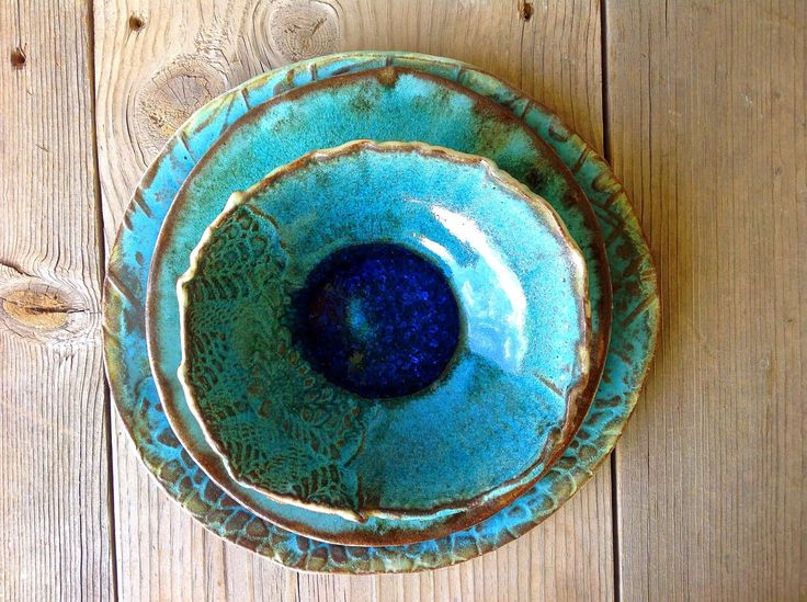 Ceramic Turquoise Organic Dinner Set for One, Handmade Dinnerware Rustic Table Setting- Made To Order by rootsfarm on Etsy https://www.etsy.com/listing/214145160/ceramic-turquoise-organic-dinner-set-for