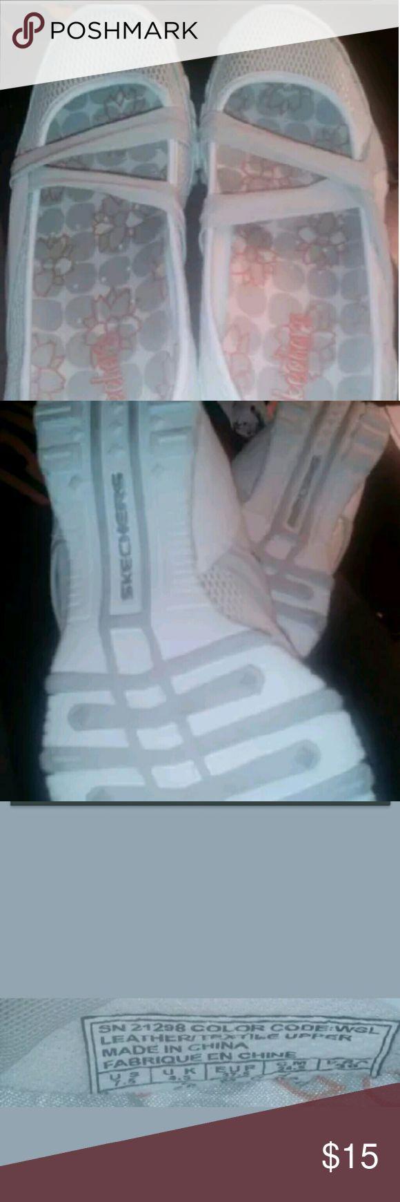 White Skechers Size 7.5 Excellent condition Very clean no signs of wear Skechers Shoes Flats & Loafers