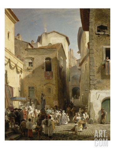 Une fête à Genazzano  by Oswald Achenbach