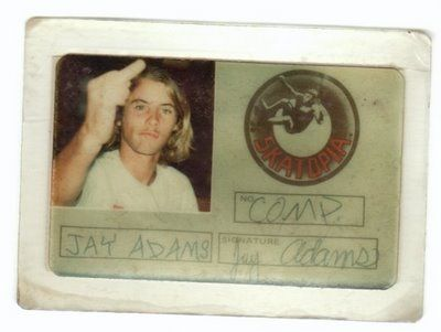 Jay Adams, Skatopia ID circa '76 - flippin the bird - you tell em Jay!