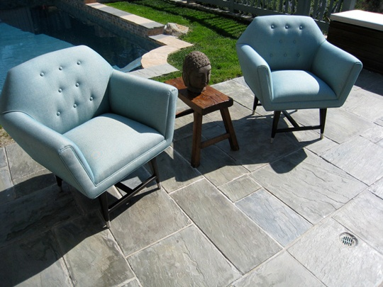 """Swivel Mod Outdoor Chair, $1631.25  Outdoor mid-century modern style teak swivel chairs in a chocolate stain, polished stainless steel caps and an aqua blue Sunbrella fabric with buttons.  30"""" OW x 30"""" OD x 34"""" OH x 18"""" seat height.  Custom finishes, fabrics and COM available."""