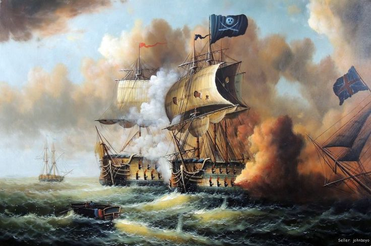 Pirate Ship Cannon Battle Caribbean Sea Stretched 24X36 ...