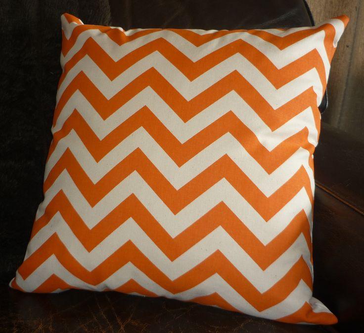 Mandarin & natural chevron cushion cover