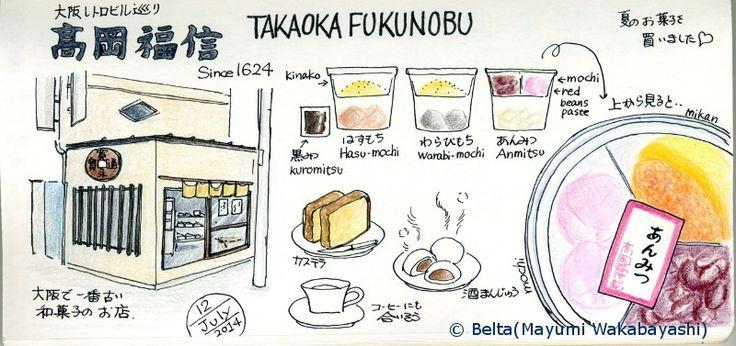 2014_07_13_takaokafukunobu_01_s  大阪最古の和菓子屋さん 高岡福信さんで、夏の和菓子を買いました。  It is the oldest Wgashi shop in Osaka.  Wagasi  is a traditional Japanese confectionery.   for this drawing I used : Faber Castell polychromos MIDORI traveler's notebook  © Belta(Mayumi Wakabayashi)