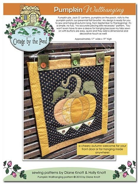 Pumpkin Wallhanging Sewing Quilting ePattern by cottagebythepond, $8.00
