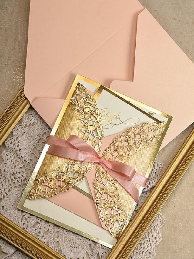 Weddbook ♥ If you want to stand out from the crowd and make a style statement with your wedding invitations, then this combination of peach and gold is just the thing. Elegance and beauty combined in this invitation will definitely speak volumes about your taste  Wedding Coral Lace Invitations, Glamour Peach Inviation #weddbook #wedding