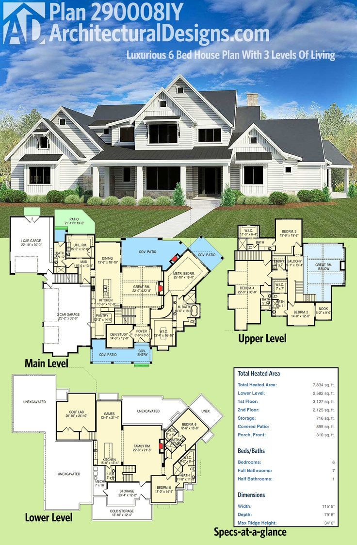 Architectural Designs Craftsman House Plan 290008IY Gives You 6 Bedrooms  Spread Across 3 Levels Of Living
