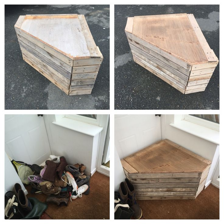 Shoe box and seat for the porch. Made out of a pallet. 1 built it, 2 sanded it, 3 original pile of shoes, 4 fitted it!