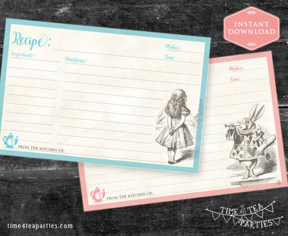 Alice in Wonderland Recipe Cards in Blue & by Time4TeaParties
