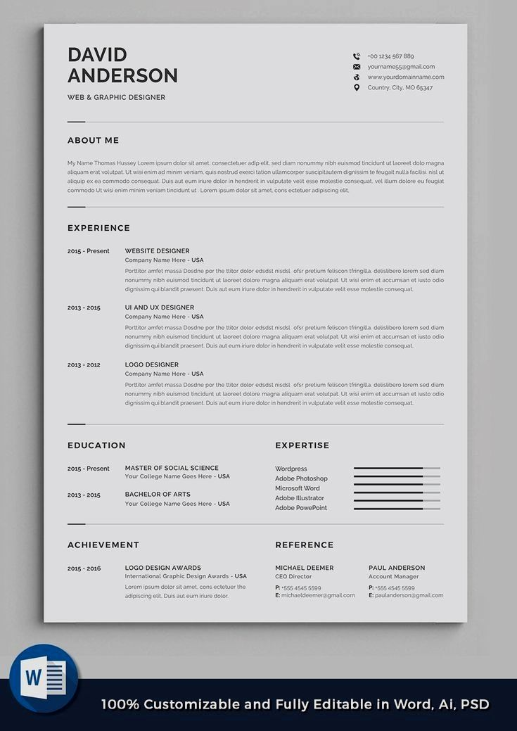 Professional Resume Template Instant Download 1 Page Resume Template For Ms Word Diy Resume T Resume Design Professional Resume Design Resume Design Creative