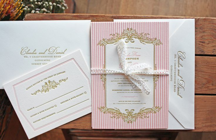 Artcadia.co.uk New Clara Range - Vintage letterpress wedding invitations, pink, gold, blush, nude, french