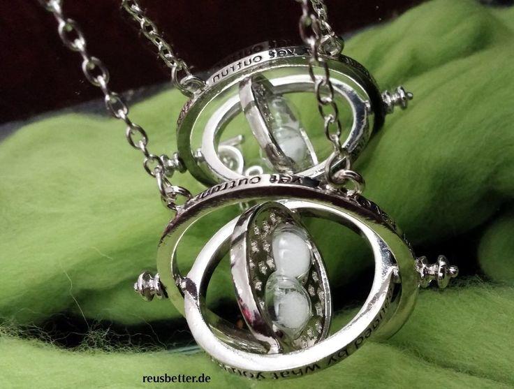 Harry Potter Hermines Zeitumkehrer voll Beweg Halskette Weißer Sand Metall *>