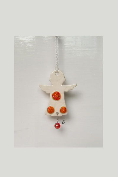 Ceramic Angel red-lavender hearts  Empowered by DelabudCreations