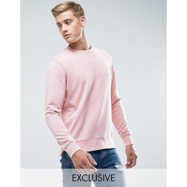 Jack & Jones Originals Sweatshirt with Chest Embroidery ($40) ❤ liked on Polyvore featuring men's fashion, men's clothing, men's hoodies, men's sweatshirts, pink, mens tall sweatshirt, mens crewneck sweatshirts, mens crew neck sweatshirts and mens pink sweatshirt