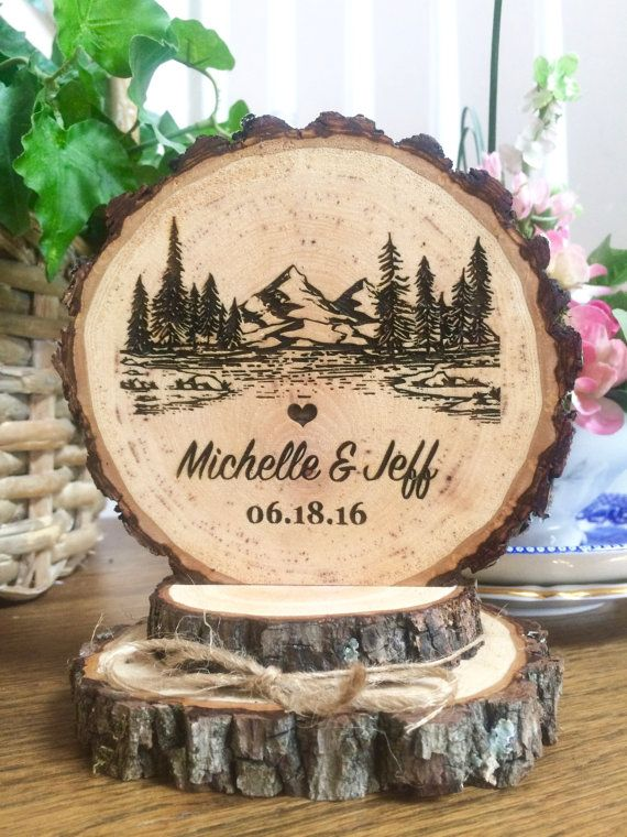Rustic Mountain Wedding Cake Topper Tree Wood