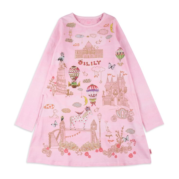 OILILY Girls 'Tastle' Jersey Dress - Pink From £46 Girls long sleeve dress • Soft stretchy cotton • Round neckline • Ribbed collar and cuffs • Colourful girly print • Material: 95% Cotton, 5% Elastane