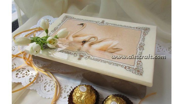 Decoupage tutorial for beginners - DIY.  Wedding gift box with decoupage...