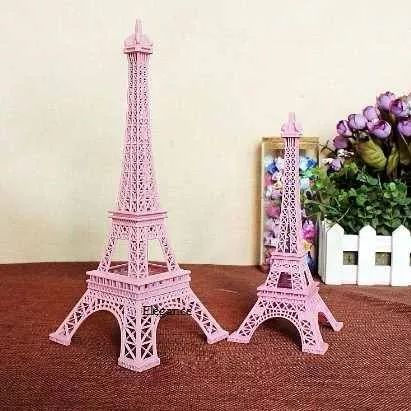 miniatura torre eiffel decorativa rosa bebê 18 cm linda