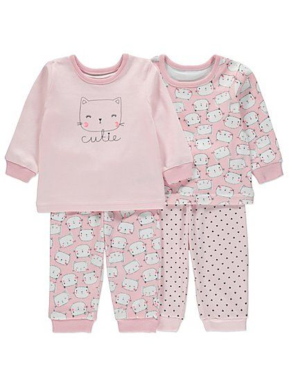 2 Pack Cat Print Pyjamas, read reviews and buy online at George at ASDA. Shop from our latest range in Baby. This 2 pack of pretty pink pyjamas is the purr-f...