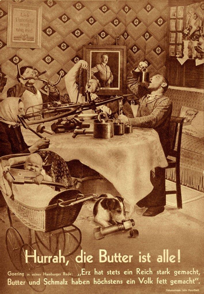 AIZ, diciembre de 1935, ¡Hurra, la mantequilla se acabó!, por John Heartfield.
