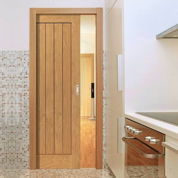 Single Pocket River Thames Original Oak 6 Panel sliding door system in three size widths