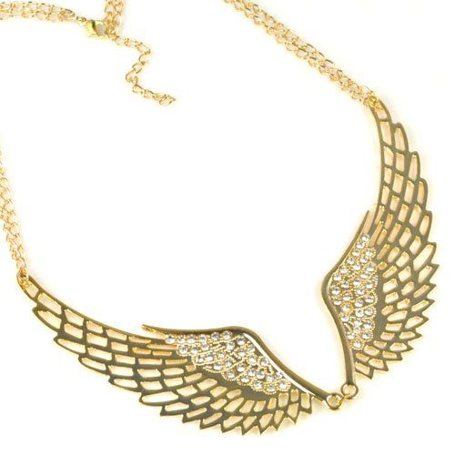 golden Angel wing with rhinestons necklace,angel wing necklace,hot offer! NL-1903 $5.97