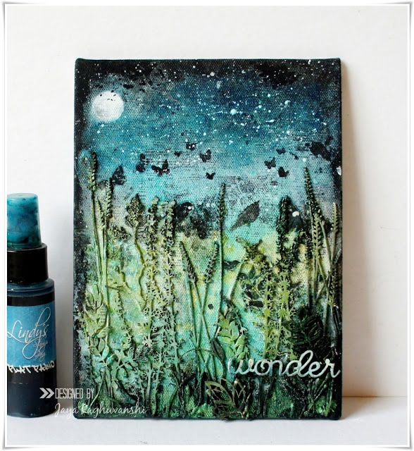 My Craft World: 'Wonder'- Mixed media canvas for 2Crafty chipboard.