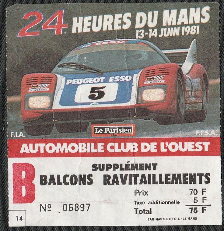 LE MANS 24 HOURS HEURES 1981 BALCONY ENTRANCE TICKET PASS WM P79/ 80 PEUGEOT