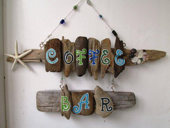 Café-Bar-Leuchtfarben, Altholz-Holz-Kunst, Treibholz Malerei, Shabby Chic Home Decor, Strand Dekor, gemalt, Ferienhaus