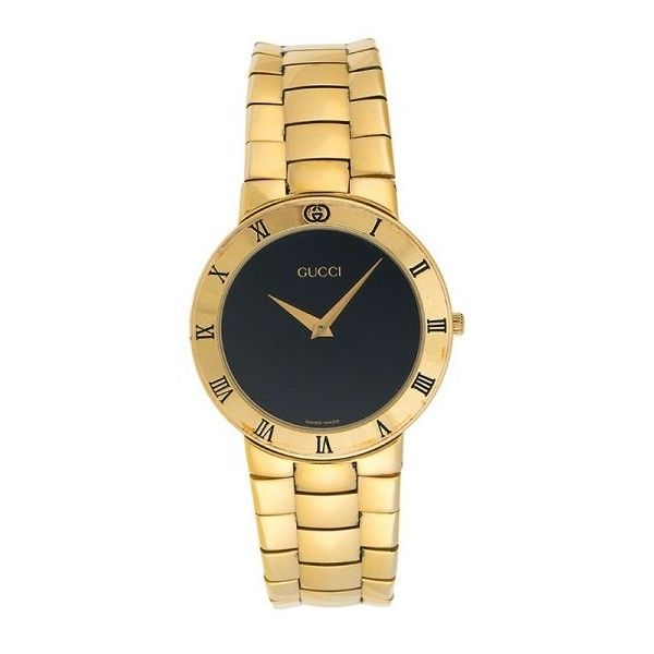 Pre-owned Gucci 3300.2.M Gold Plated Quartz 34.5mm Womens Watch ($275) ❤ liked on Polyvore featuring jewelry, watches, gucci wrist watch, gold plated watches, gucci jewelry, pre owned watches and gucci