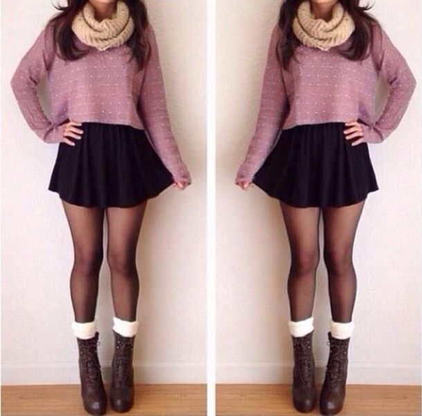 Cute outfit. Black skirt, cropped sweater, loop scarf, tights, boots and