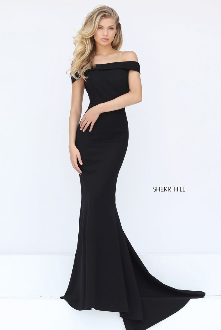 Sophistication is at its finest in Sherri Hill 50824. This classic off-the-shoulder trumpet gown glides across your curves and follows you with a sweep train. A very subtly V-shaped back accentuates your shoulders. This gown is perfectly fit for a bridesmaid, or anyone attending a charity event, military ball, or prom.   var _currentScript = document.currentScript || null; (function () { var script = document.createElement('script'); script.type = 'text/javasc...