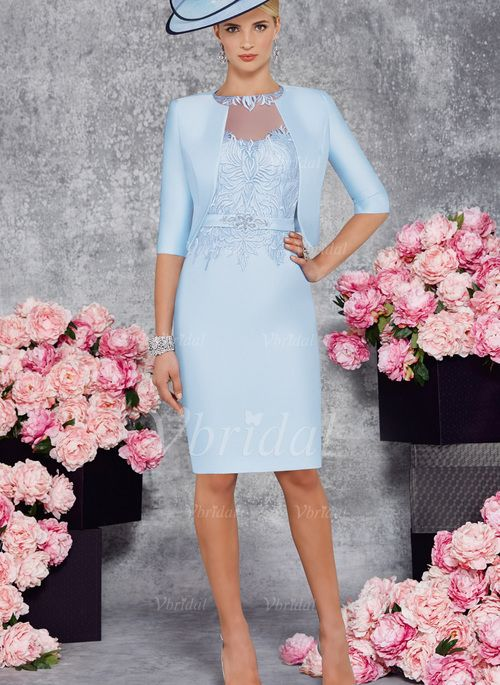 Mother of the Bride Dresses - $130.99 - Sheath/Column Scoop Neck Knee-Length Satin Mother of the Bride Dress With Beading Appliques Lace (0085102391)