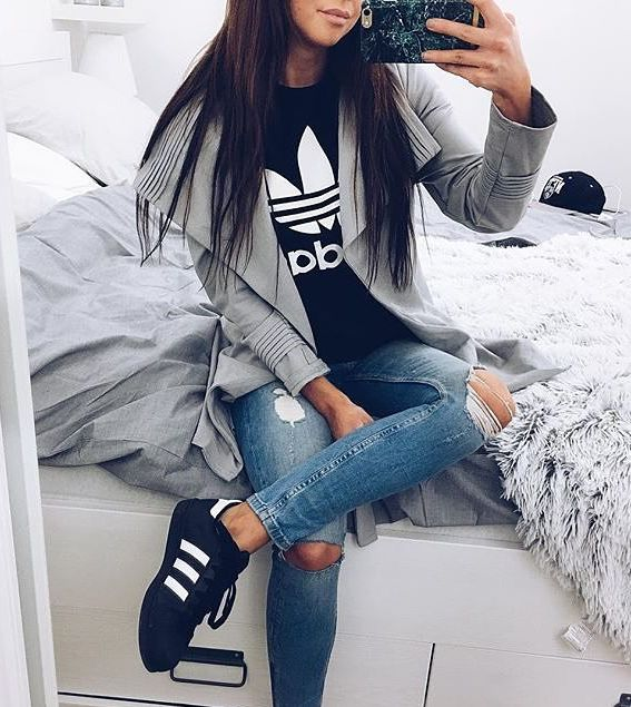 ripped jeans sneackers black top and grey jacket adidas brand - 132 Best Adidas. Images On Pinterest Adidas Fashion, Adidas
