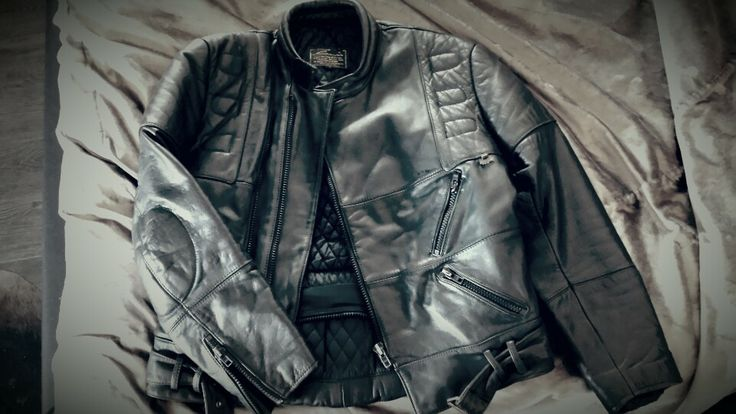 Vintage leather jacket distressed