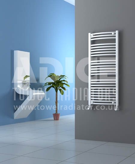 Show details for 500mm Wide 1150mm High White Curved Towel Radiator