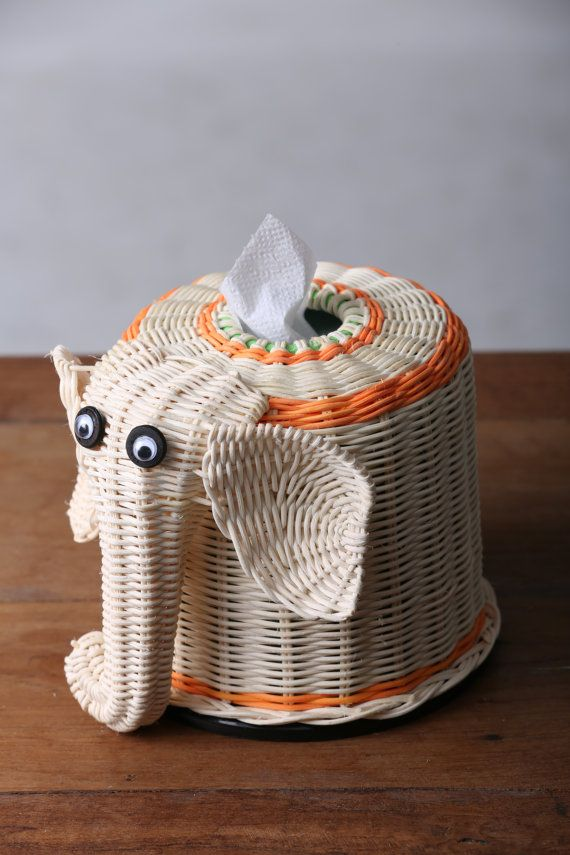 Elephant Tissue paper Box #Thai handmade #100% natural wicker