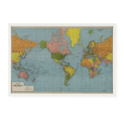 World Wide Framed Wall Map  | Crate and Barrel