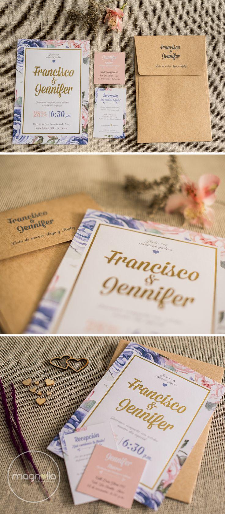 Invitaciones florales para bodas románticas&vintage   #bodas #vintage #flores #invitaciones #rustico #originales #creativas
