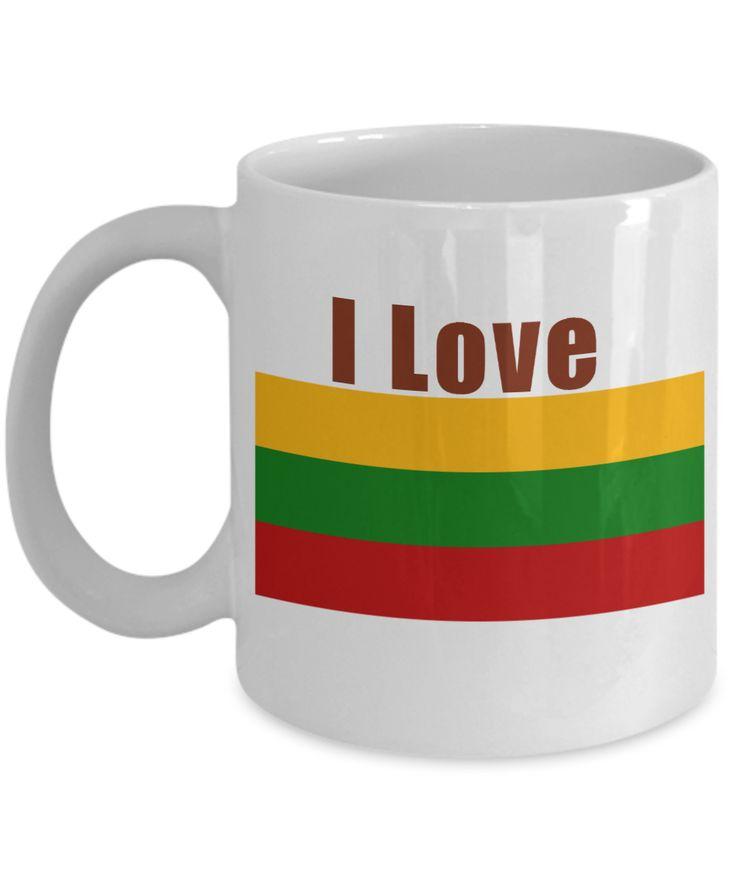 I Love Lithuania Coffee Mug With A Flag