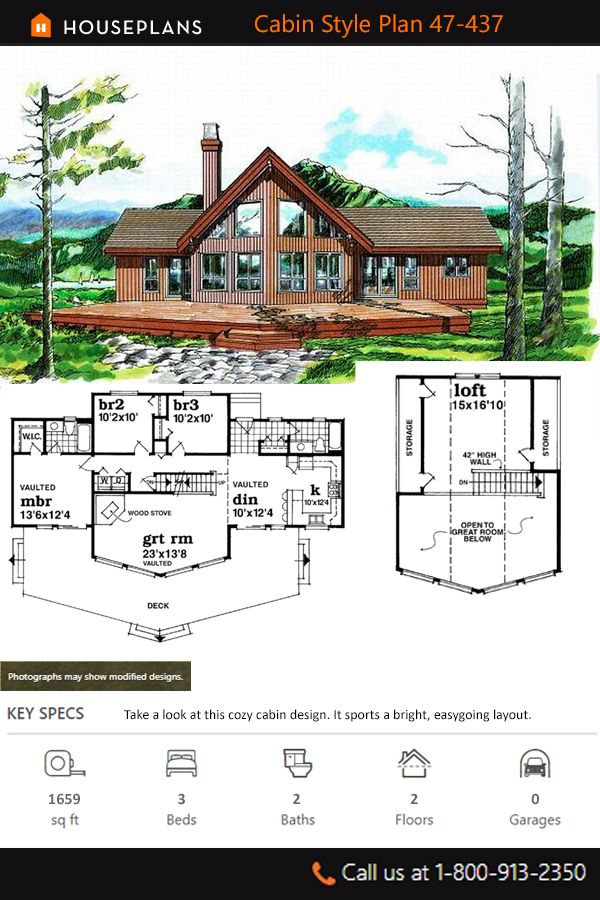 Cabin Style House Plan 3 Beds 2 Baths 1659 Sq Ft Plan 47 437 In 2020 Cabin House Plans Bungalow Style House Plans Farmhouse Style House Plans