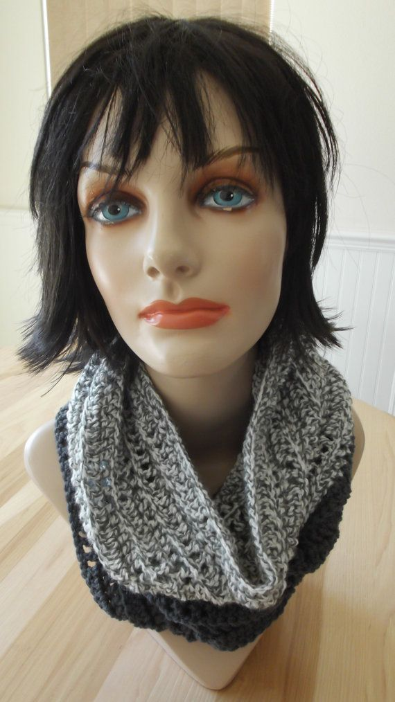 Gray Infinity Scarf Crochet Infinity Scarf Loop Scarf Two